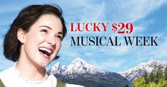 Lucky $29 Musical Week starts TODAY! From now until April 21, enjoy $29 tickets to #sfSoundofMusic and #sfCarousel. This lucky deal sold out quickly last season, so don't delay - order today and save up to $79 on A seats! Stratford Festival, April 21, Musicals, Seasons, Songs, Movie Posters, Seasons Of The Year, Film Poster, Song Books