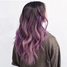 Pretty purple/pink @pravana Haircolor over her natural low maitnenance ombré…