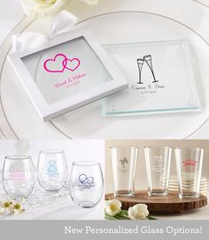 Every host wants to put their own personal mark on their big occasion. Be sure to check out our new personalized glass favors! We are offering a new range of sizes and shaped glasses – from the 15 ounce pint and the 15 ounce stemless wine glass. Also new are the personalized glass coasters…we expect these to be a BIG hit this season. http://bride2be.theaspenshops.com/Search.aspx?q=glasses