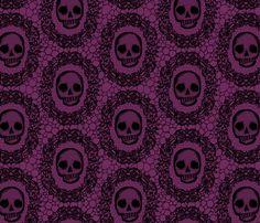 Skull Lace - wine fabric by thecalvarium on Spoonflower - custom fabric Stick On Wallpaper, Cover Wallpaper, Custom Wallpaper, Haunted Mansion Halloween, Adventure Campers, Chair Fabric, Halloween Art, White Fabrics, Custom Fabric