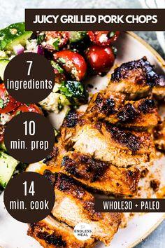 Healthy Bbq Recipes, Healthy Grilling, Pork Chop Recipes, Whole Food Recipes, Grill Recipes, Best Grilled Pork Chops, Healthy Pork Chops, Pork Chop Dinner, Pantry