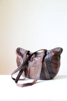 SOLD Vintage patchwork leather bag/ retro by RetroandRosesvintage