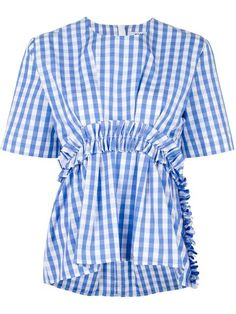Buy MSGM Women's Blue Vichy Top With Rouches. Frill Blouse, Blue Blouse, Frill Tops, Blue Short Sleeve Tops, Spring Fashion Trends, Flutter Sleeve Top, Blouse Patterns, Msgm, Top Pattern