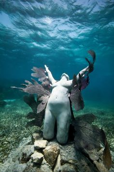Reclamation - Underwater Sculpture by Jason deCaires Taylor.    Depth 5m, MUSA Collection, Punta Nizuc, Mexico.