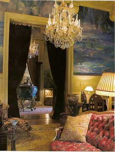 Painted walls in Yves Saint Laurent's House 'Chateau Gabriel' in Russian Vogue