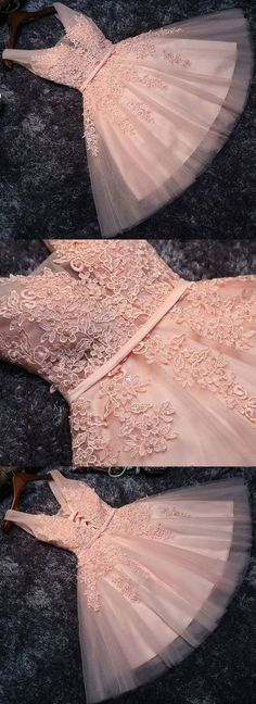 A-Line V-Neck Pearl Pink Tulle Homecoming Dress with Sash Appliques Pearls - Prom Dresses Design Cheap Homecoming Dresses, Cheap Evening Dresses, Cheap Dresses, Trendy Dresses, Short Dresses, Formal Dresses, Wedding Dresses, Quince Dresses, Pink Tulle