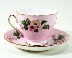 Colclough Cup and Saucer  Pale Pink Gold Rims Wild by MysticLily, $18.50