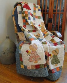 Special memories of time spent with my grandmother and a cozy quilt made with love with a Dutch Girl pattern on top of a feather mattress, sweet memories! Patch Quilt, Applique Quilts, Embroidery Applique, Quilt Blocks, Quilting Projects, Quilting Designs, Sewing Projects, Girls Quilts, Baby Quilts