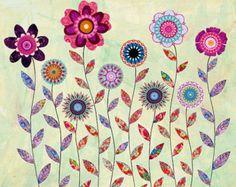 Tree Owl Art Print Mixed Media Painting Children Decor by Sascalia
