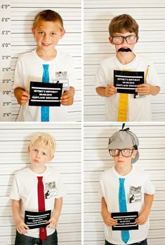 A Vintage Case-Solving Detective Party // Hostess with the Mostess® Love this mugshot photo booth Spy Birthday Parties, Boy Birthday, Themed Parties, Geheimagenten Party, Nancy Drew Party, Secret Agent Party, Detective Theme, Phineas Y Ferb, Diy Photo Booth