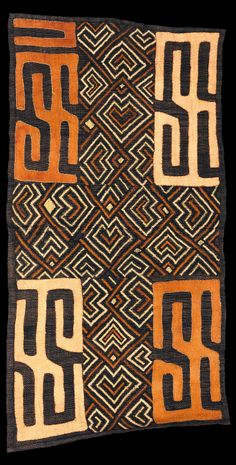 Africa | Kuba cloth from the DR Congo | Raffia and vegetable dye