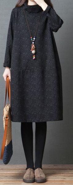 Women high neck  Cotton Tunic Women Sleeve black prints shift Dresses patchwork#patchworkdress#cottondress#highneckdress#blackprintsdress Cotton Tunics, Women Sleeve, Black Print, Casual Dresses For Women, Party Dress, Dress Party, Women's Casual Dresses, Party Dresses