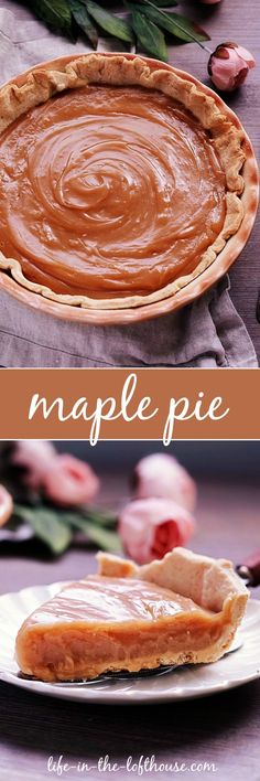 This beautiful Maple Pie is popular during Maple Season in Canada! This pie is the perfect way to end any savory meal. Pie Recipes, Sweet Recipes, Dessert Recipes, Cooking Recipes, Aloo Recipes, Quick Recipes, Copycat Recipes, Recipes Dinner, Dessert Ideas