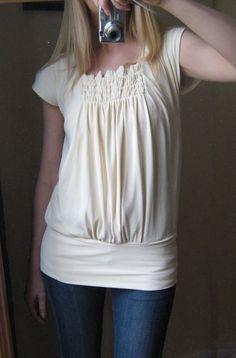 Shirred top, large waist band
