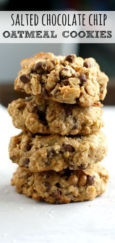 chocolate chip oatmeal cookies thick chewy delicious salted chocolate ...