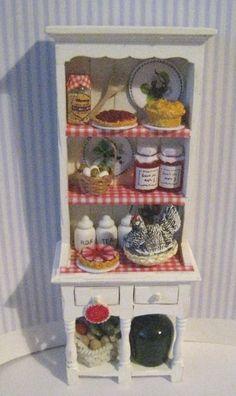 Narrow Kitchen Hutch, Dollhouse  Dresser, Filled dresser,  tatty chic hutch,, white hutch, twelfth scale dollhouse miniature by Insomesmallwayminis on Etsy https://www.etsy.com/listing/183900575/narrow-kitchen-hutch-dollhouse-dresser