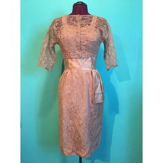 Vintage 1950s Beige Lace Party Dress with by StardustVintageRetro