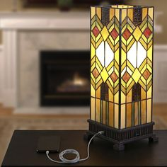 """17.25""""H Richland USB Stained Glass Uplight"""