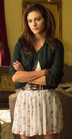Hayley's white dress and biker jacket on The Vampire Diaries worn on tv exact matcg found dress 168.00
