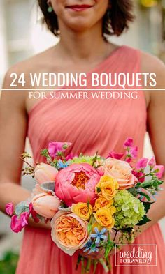 24 Gorgeous Summer Wedding Bouquets With Peonies, Roses, Lilies, Hydrangea and Dahlias ❤ See more: http://www.weddingforward.com/gorgeous-summer-wedding-bouquets/ #wedding #bride #weddingbouquets #summerwedding