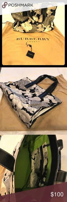 Burberry floral tote bag Floral Burberry tote bag, lightly used. Comes with dust cover and original tag. Burberry Bags Totes