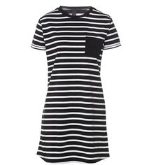 RINGER T-SHIRT DRESS (870 DOP) ❤ liked on Polyvore featuring dresses, striped jersey, tee dress, stripe jersey dress, striped dresses and striped t-shirt dresses