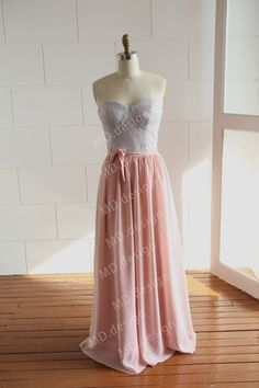 Bustier Dusty Blue Lace Coral Pink Chiffon Long by misdress