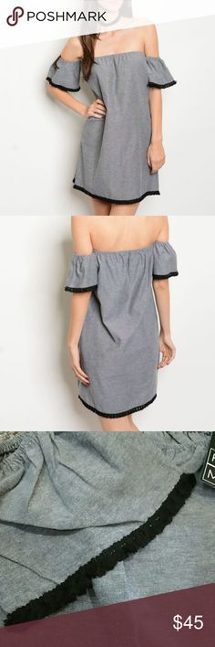 """""""HEATHER"""" Off the shoulder dress Brand new no tags Boutique item, price is firm  Sexy off the shoulder mini dress featuring adorable short ruffle sleeves with tassle trimmed details at sleeve ends and around bottom. Tunic style. Easy to wear, pair with heel or boots and off you go!   100%polyester/light weight Dresses"""