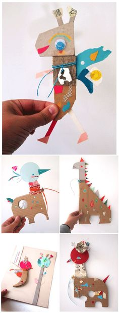 Illustrator Bianca Helga's Paper Friends. I just love this idea, using recycl… Illustrator Bianca Helga's Paper Friends. I just love this idea, using recycled materials to create characters that are instantly friends! This would be Projects For Kids, Diy For Kids, Craft Projects, Crafts To Do, Crafts For Kids, Diy Crafts, Creative Crafts, Creative Writing, Yarn Crafts