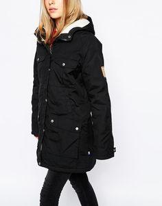 Shop Fjallraven Hooded Parka Coat With Borg Lining at ASOS. Hooded Parka, Parka Coat, Vegan Fashion, Asos, Fashion Online, Raincoat, Winter Jackets, How To Wear, Coats