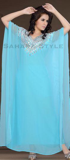 Malika Blue Kaftan - Arab Dubai Style Kaftan Farasha Jalabiya Abaya Sahara Style