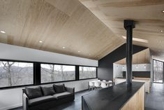 Bolton House by Naturehumaine « Inhabitat – Green Design, Innovation, Architecture, Green Building Plywood Ceiling, Plywood Walls, Raked Ceiling, Ceiling Windows, Architecture Design, Cabinet D Architecture, Landscape Architecture, Bolton House, Green Design