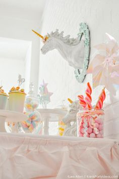 Unicorn dessert table at a unicorn themed birthday party by Kara's Party Ideas | Kara Allen | KarasPartyIdeas.com