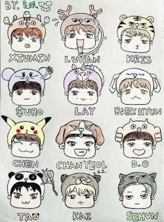 EXO Chibi Fanart. omg this is so cutteeee
