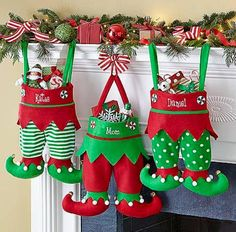 Christmas Stocking Tradition & stocking stuffers - - A really fun tradition for family Christmas stockings, plus over 100 fun and unique ideas for Christmas stocking stuffers. Christmas Sewing, Noel Christmas, Handmade Christmas, Christmas Ornaments, Crochet Christmas, Elf Christmas Decorations, Elf Decorations, Quilted Ornaments, Nordic Christmas
