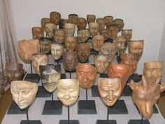 A Group of 40 Antique Production Molds for 19th Century Carnival Masks