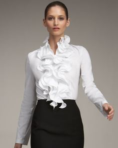 The whimsical direction of the ruffles on this blouse ensure it's unmistakably an Escada design White Ruffle Blouse, Sexy Blouse, Couture Tops, Vogue Fashion, Woman Fashion, Beautiful Blouses, Blouse Styles, Fashion Branding, Clothes For Women