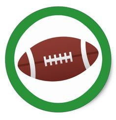Football sticker with green border.  Cool stickers featuring a vector cartoon illustration of a football and a green border. Add your custom text by clicking the customize it button. Other coordinating products are also available. For custom requests please use the store contact link.