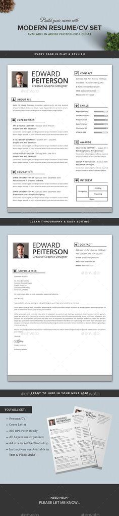 2 Pages Modern Resume/CV Set - #Resumes #Stationery Download here: https://graphicriver.net/item/2-pages-modern-resumecv-set/10740771?ref=alena994