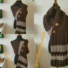 Modern Celtic Cable Wrap/Scarf on sale now in my etsy shop :)  #crochet #celtic #wrap #scarf