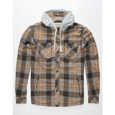 Jetty Flint Hooded Flannel Shirt ($80) ❤ liked on Polyvore featuring men's fashion, men's clothing, men's shirts, men's casual shirts, mens pearl snap shirts, mens long sleeve shirts, mens snap button flannel shirts and mens long sleeve hooded t shirt
