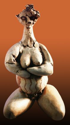 Erdinç Bakla, Çatalhöyük Mother-Goddess 2. red pottery clay, 17x16x28 cm, 1990