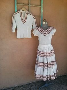 Vintage Mexican Patio Dress White 3 PC Small by bycinbyhand Vintage Outfits, Vintage Fashion, Vintage Clothing, Mexican Patio, Fiesta Dress, Cool Style, My Style, Fashion Group, Frocks