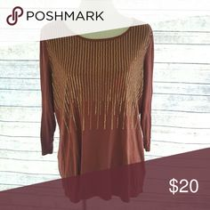 Plus size top 23 bust. 28 length. All measurements are approximate. Wine colored quarter length sleeve tee with gold small sequined detail on front. Slight pulling but does not affect the integrity of the shirt size 1x Liz Claiborne Tops