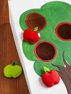 Create a fun fall-inspired Apple Toss beanbag game with a painted presentation board and easy-sew felt apples.