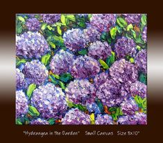 "Jardín de hortensias flores pintura al óleo - flor púrpura - pintura - textura Impasto espátula pequeña lona 8 x 10"" Arte Original de pared"