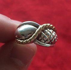 14k Gold Cable & Sterling Silver 925 Weave Men's Ring by Nancy & David Yurman - http://designerjewelrygalleria.com/david-yurman/14k-gold-cable-sterling-silver-925-weave-mens-ring-by-nancy-david-yurman/