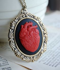 Your place to buy and sell all things handmade Cameo Necklace, Pendant Necklace, I Love Heart, My Love, Anatomically Correct Heart, Anatomical Heart, Small Gift Boxes, Sacred Heart, Black Heart