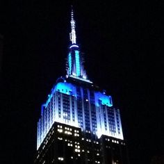 August 12, 2014: The Empire State Building lights for the Democratic National Convention Site Selection Committee visit for a second night. Photo by Alex P.