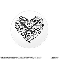 """""""MUSICAL NOTES"""" IN A HEART CLOCK"""